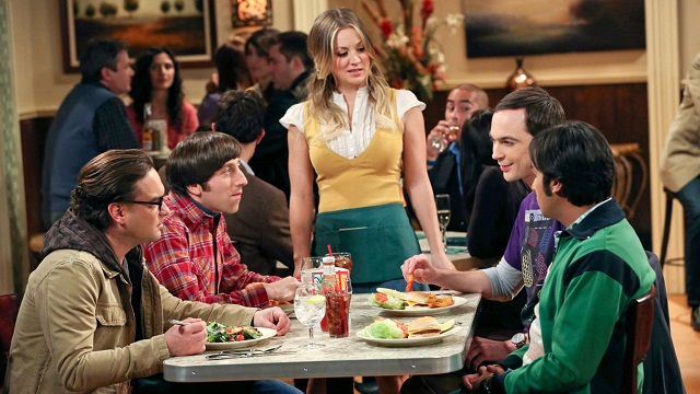 """""""The Hesitation Ramification"""" -- When Penny's big acting break on NCIS is a bust, Leonard struggles to help her, which results in Penny asking Leonard a bold relationship question. Meanwhile, Sheldon tries to learn how to be funny and Raj tries to work on his """"game"""" before talking to girls, on THE BIG BANG THEORY, Thursday, Jan. 2 (8:00 – 8:31 PM, ET/PT) on the CBS Television Network. Pictured left to right: Johnny Galecki, Simon Helberg, Kaley Cuoco, Jim Parsons and Kunal Nayyar Photo: Michael Yarish/Warner Bros. Entertainment Inc. © 2013 WBEI. All rights reserved."""